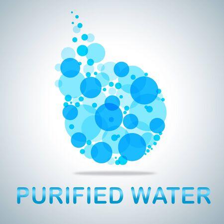 agua purificada: Burbujas del agua purificada símbolo muestra se filtra y se Pure H2o