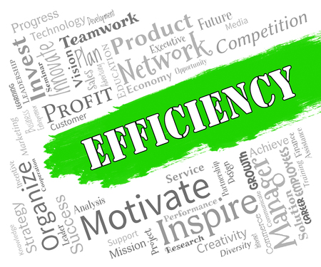 Efficiency Words Indicating Improve Effectiveness And Productivity Stock Photo