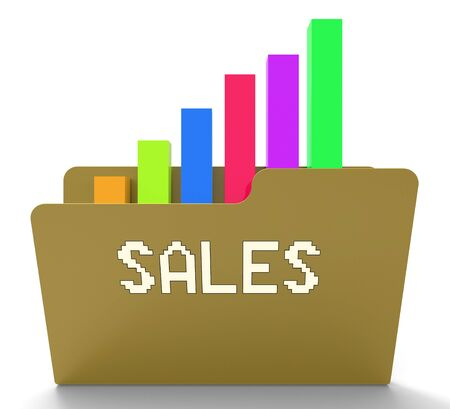 vend: Sales File Or Folder 3d Rendering With Graph Stock Photo