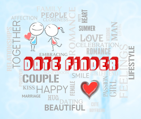finders: Date Finder Words And Characters Indicate Search For Love Online Stock Photo