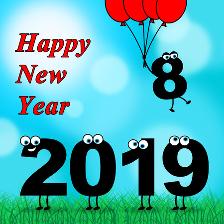 Twenty Nineteen Representing 2019 New Year 3d Illustration