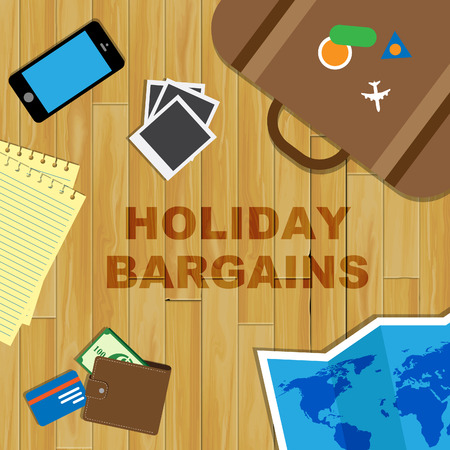 travel gear: Holiday Bargains Word And Travel Gear Represents Vacation Discounts And Getaways