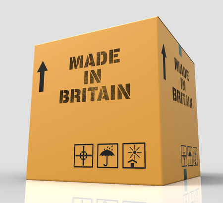 represents: Made In Britain Product Box Represents UK Production 3d Rendering