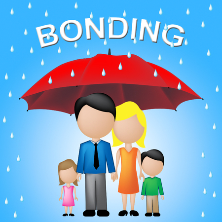 Family Under Umbrella With Bonding Word Shows Love Feeling And Togetherness