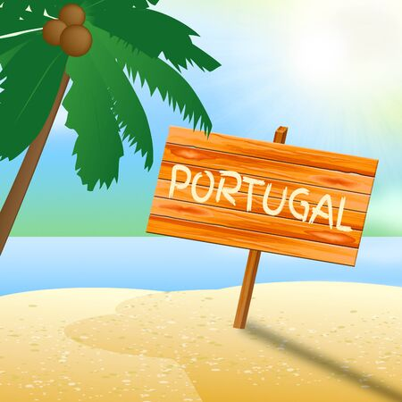 portugese: Portugal Beach Sign Represents Portugese Holiday 3d Illustration
