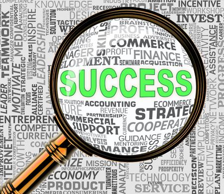 triumphant: Success Magnifier Representing Triumphant Victory 3d Rendering Stock Photo