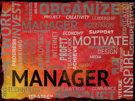 overseer: Manager Words Indicating Supervisor Boss And Administrator Stock Photo