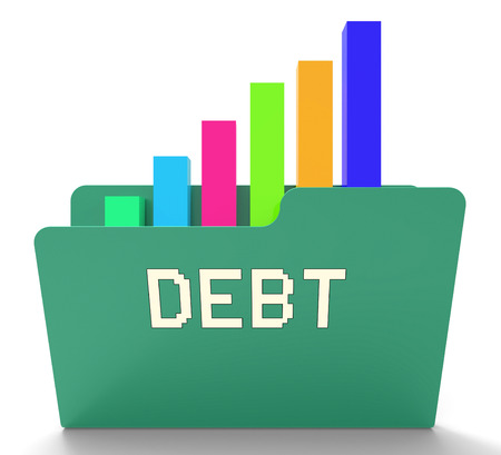owing: Debt Word On File Shows Financial Obligation 3d Rendering Stock Photo