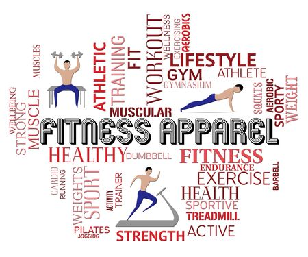 fitter: Fitness Apparel Words Around Men Getting Fitter Stock Photo