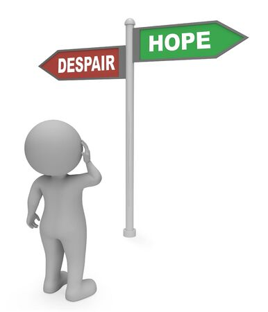 wishful: Character Reading Despair Hope Sign Shows Hoping Or Wants 3d Rendering