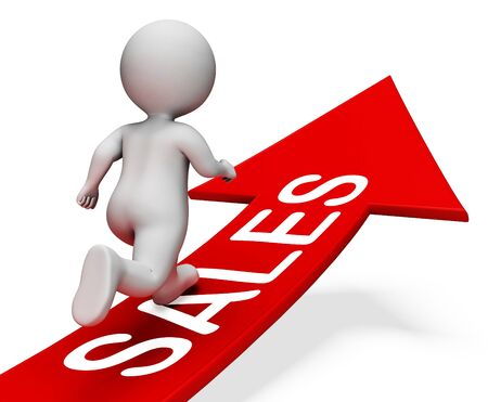 vend: Sales Arrow Meaning Retail Trade 3d Rendering