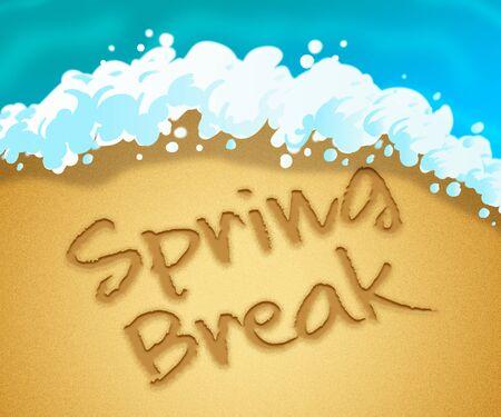 spring break: Spring Break Word In Sand Means Springtime Parties On The Beach Stock Photo
