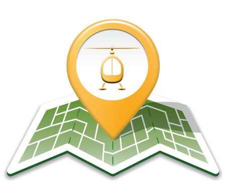 Heliport Map Pin Indicates Copter Location 3d Illustration Stock Photo