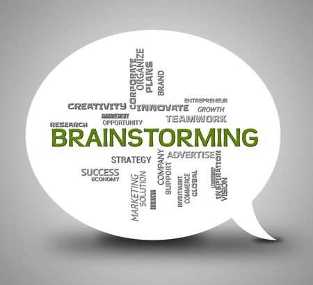 pondering: Brainstorming Word On Speech Bubble Indicates Brainstorms 3d Illustration Stock Photo