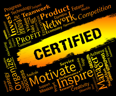 Certified Words Representing Warranted Authenticate And  Verified