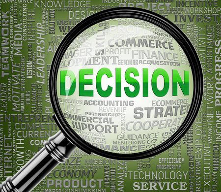 decide deciding: Decision Magnifier Indicating Choose Decided 3d Rendering