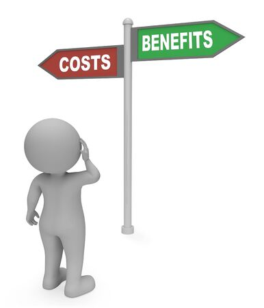 perks: Costs Benefits Sign Showing Outlay Expenditure 3d Rendering