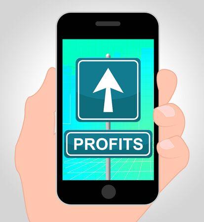 profiting: Profits Online On Mobile Phone Shows Revenue Growth 3d Illustration