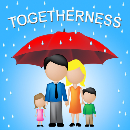 kin: Togetherness Word Shows Children And Parents Together Stock Photo