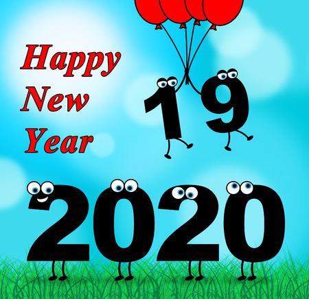 indicating: Two Thousand Twenty Indicating 2020 New Year 3d Illustration