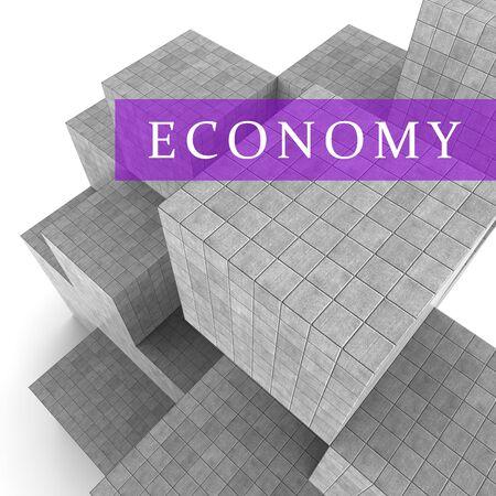 economizing: Economy Blocks Showing Macro Economics 3d Rendering