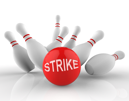 bowling strike: Bowling Strike Word Shows Ten Pin 3d Rendering Stock Photo