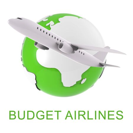 inexpensive: Budget Airlines Globe And Plane Shows Special Offer Flights 3d Rendering Stock Photo