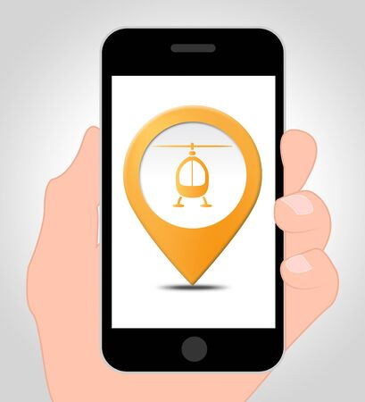 Helicopter Location Online On A Mobile Phone 3d Illustration