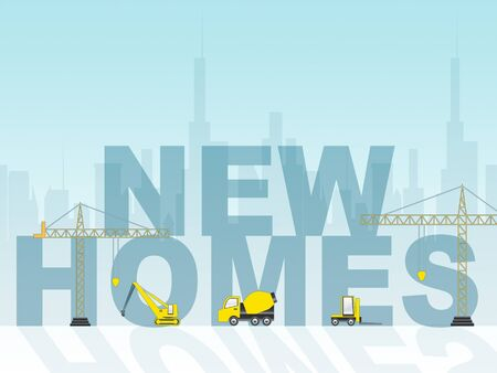 new homes: New Homes Word And Construction Means Newly Built Property 3d Illustration