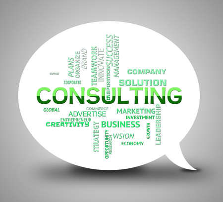 consulted: Consulting Bubble Showing Seeking Information And Advice Stock Photo