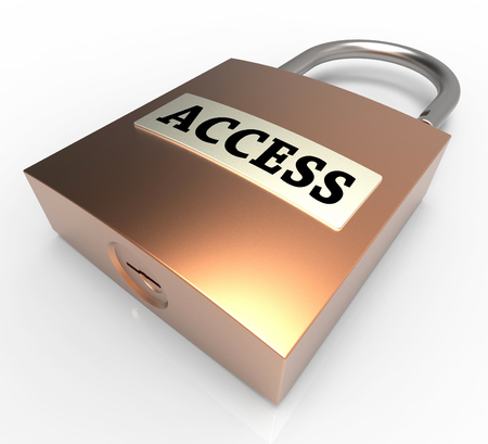 safeguards: Access Word On Padlock Shows Entry Protection 3d Rendering Stock Photo