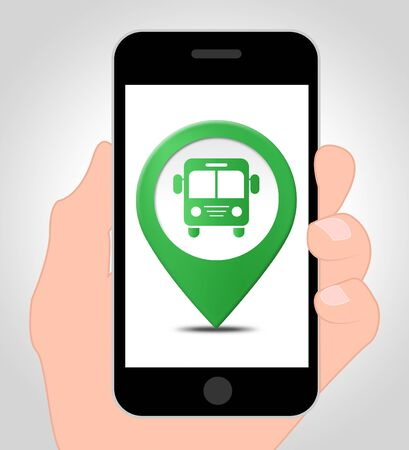 locate: Bus Location Online Indicating Mobile Phone Transport 3d Illustration