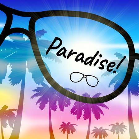 Paradise Vacation Sunglasses Represents Beautiful Resort In The Tropics