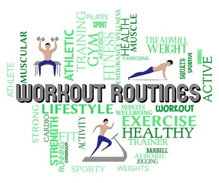 routines: Workout Routines Showing Physical Activity And Aerobics
