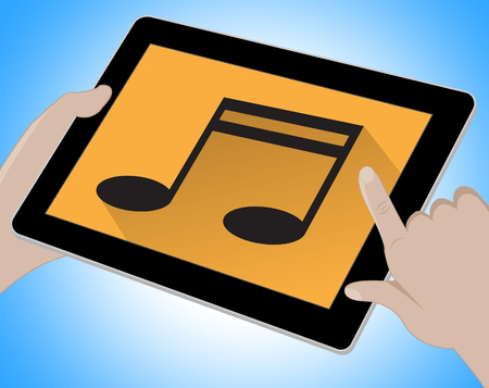 indicating: Music On Tablet Indicating Songs 3d Illustration