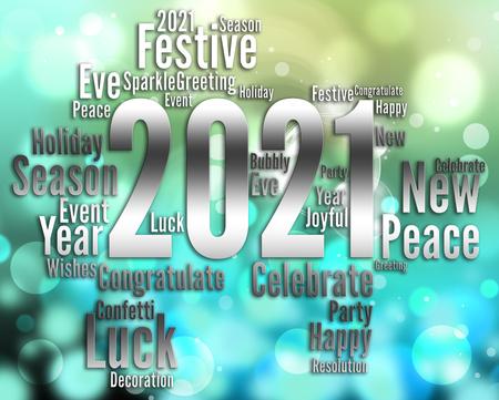 twenty two: Two Thousand Twenty One Words For 2021 New Year Party Stock Photo