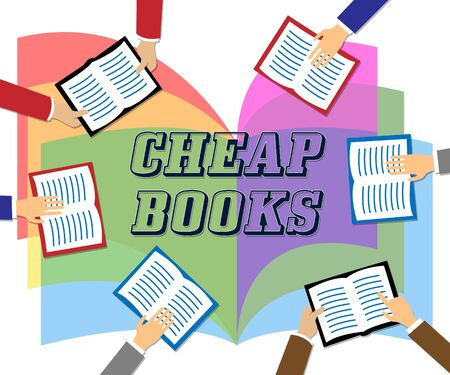 discounted: Cheap Books Meaning Low Cost Reading Material Stock Photo