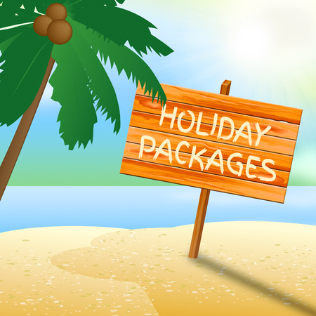 inclusive: Holiday Packages Sign On Beach Indicates Fully Inclusive Vacation Tours