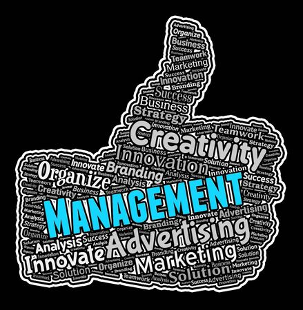 managing: Management Thumbs Up Showing Organization Managing Plans Stock Photo