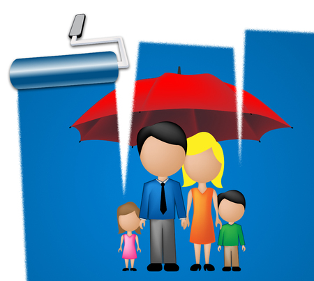hijos: Family Under Umbrella Means Children Offspring And Siblings Foto de archivo