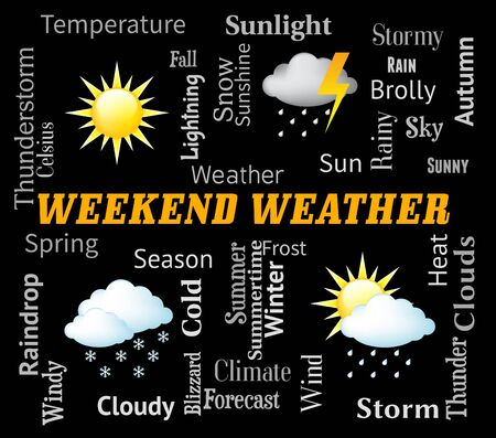 forecasts: Weekend Weather Symbols Means Saturday And Sunday Forecast Stock Photo