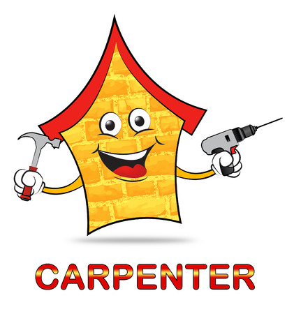 House Icon And Carpenter Word Means Handyman Joiner Or Woodworking