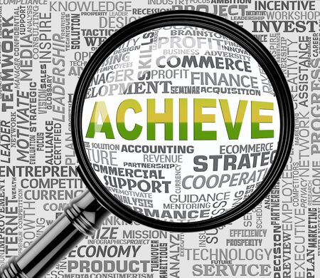 attainment: Achieve Word Magnifier Means Progress Success 3d Rendering