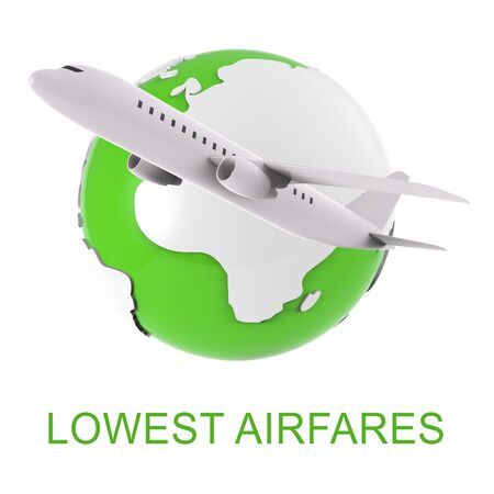 discounted: Lowest Airfares Word And Airplane Means Cheapest Flights 3d Rendering