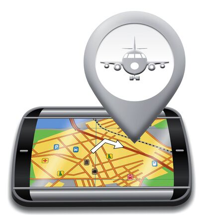 gps device: Airport Gps Device Shows Landing Strip Map 3d Illustration Stock Photo