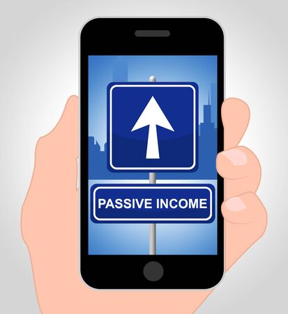 Passive Income Words On Telephone Indicate Recurring Residual Earnings