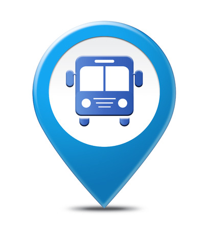 bus station: Bus Station Pointer Location Indicates Local Place And Buses Stock Photo