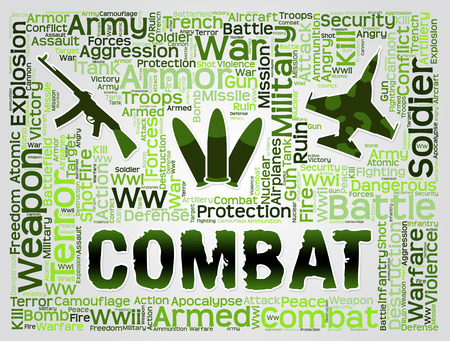 hostility: Combat Words With Military Equipment Represents Battles Hostility And Conflicts