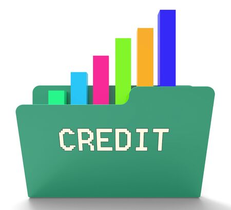 Credit File And Chart Indicates Loan Graph 3d Rendering Фото со стока