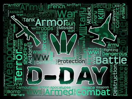 allied: D-Day Words Representing Operation Overlord And France Landings Stock Photo